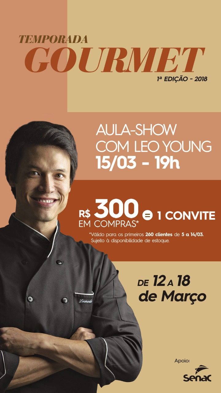 Senac leva oficinas do Cozinha Show ao Temporada Gourmet do Shopping Campo Grande